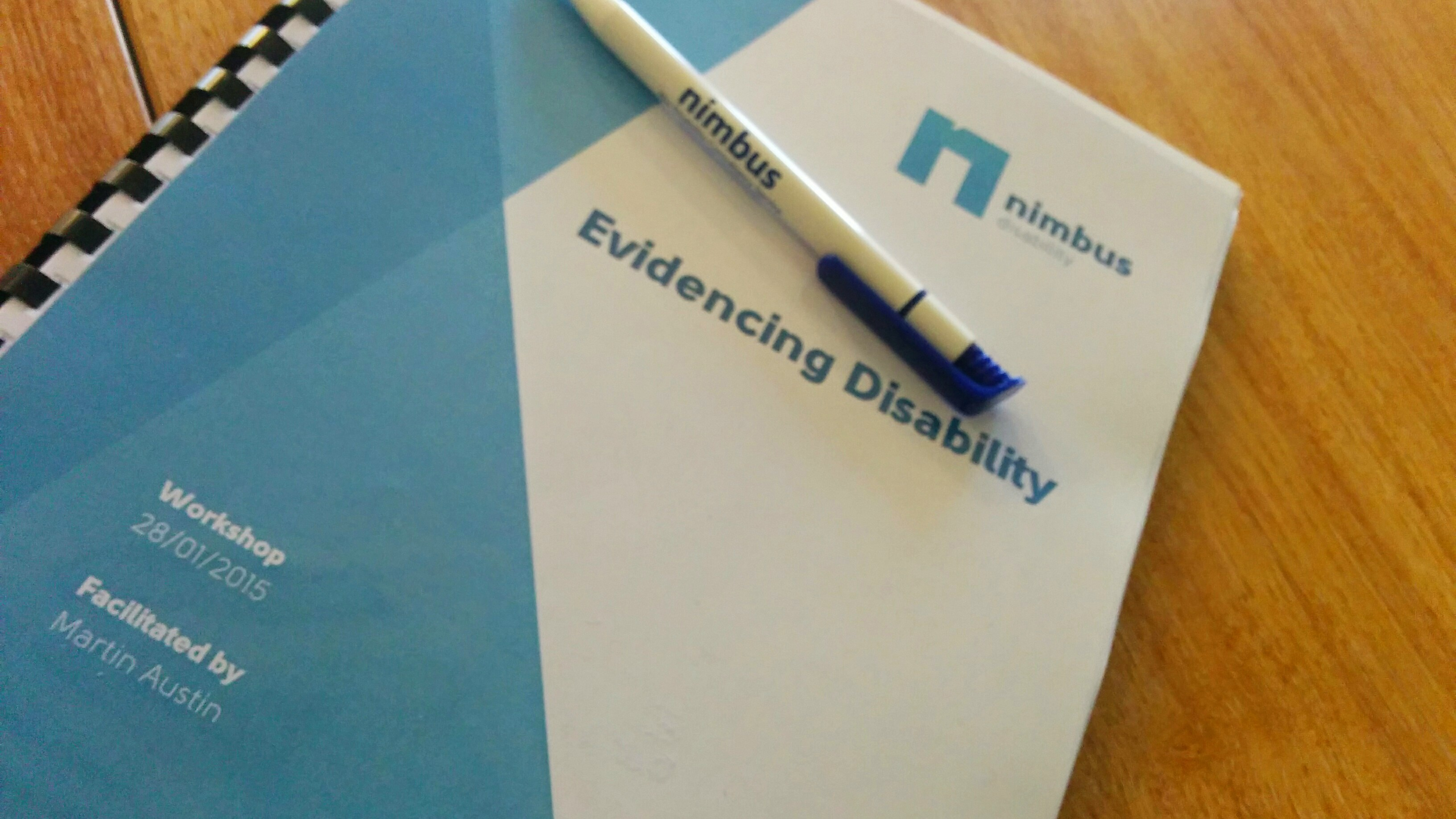 image of the evidencing disability workshop handouts