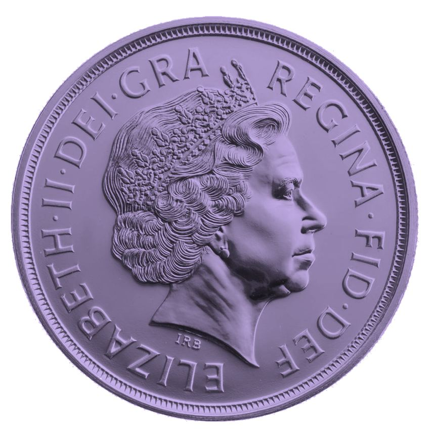 a purple pund coin
