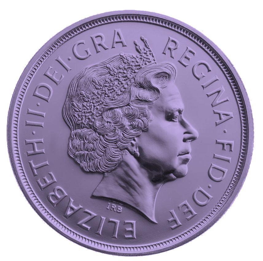 a purple pund coin